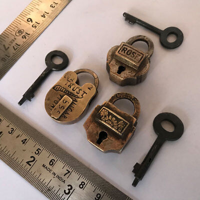 Lot 3pcs old antique solid brass padlock  lock with key small miniature