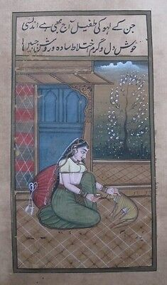 An old antique look mughal style miniature paper painting of a lady with a cat