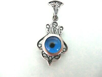 Sterling Silver Traditional Blue Lucky Evil Eye Antique Touch Designed Pendant