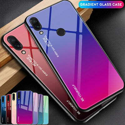 For Xiaomi Redmi Note 7 6 5 Pro/F1 Gradient Tempered Glass Hard Back Case Cover