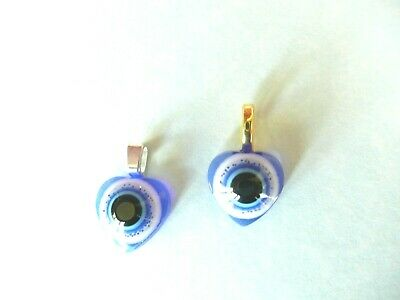 ITALIAN  LOVE HEART GOLD or SILVER LOOP  EVIL EYE ANCIENT ROMAN CHARM PENDANT