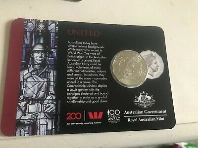 Australia 2019 100 years of Anzac - United   50  cent Coin -card