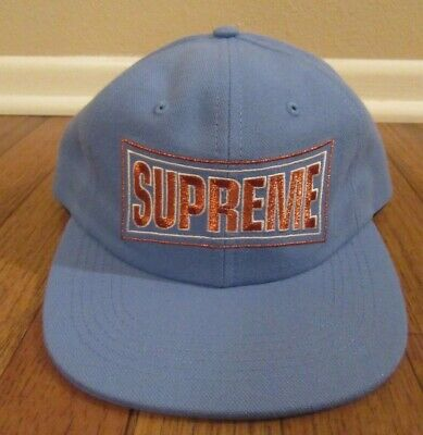 dd071eacf4ed8 Supreme Metallic Arc 6-Panel Snapback Hat Cap Light Blue SS18H24 New NWT  SS18