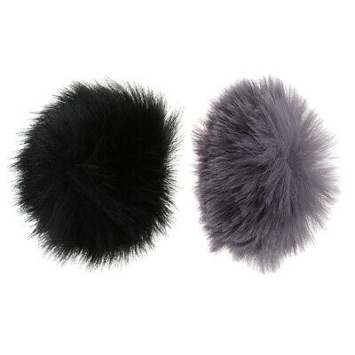 2pcs Furry Microphone Windscreen Windshield Wind Muff for Lapel Mic