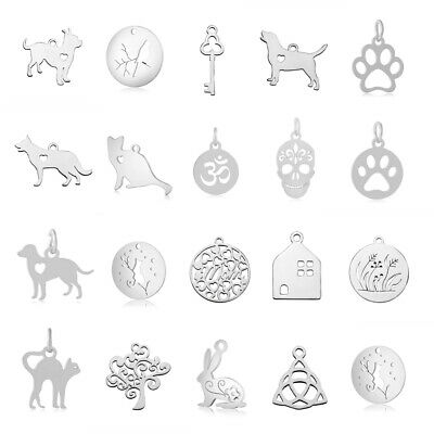 10pcs 304 Stainless Steel Pendants Charms Metal Smooth Pendants Jewelry 11~20mm