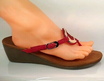 b407e4acc729 VIONIC PARK 380 Orchid Red Leather Flip-Flop Wedge Sandal Women US ...