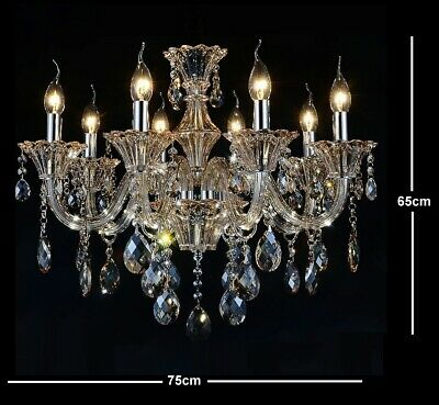 Antique European Italian French CHANDELIER K9 Crystal Cognic Amber 8 ARM Lite