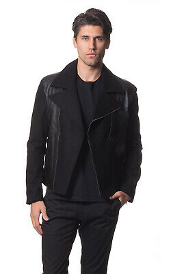 AUSTRALIA DESIGNER Men's Wool Biker Jacket with Leather Trim- Black or Grey