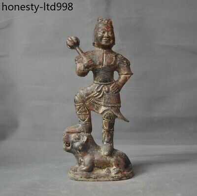 Rare china ancient dynasty bronze ware heroic soldier people animal beast statue