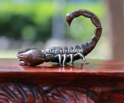 7 CM Chinese Pure Bronze Copper Lucky Lifelike Insect Scorpion Statue