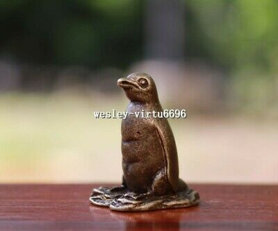 3 cm China Pure Bronze Copper Lovely Penguin Penguins Animal Lucky Statue