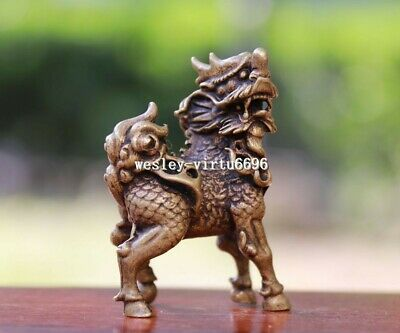 6 cm China Pure Bronze Copper Dragon Kylin Kirin Kilin Qilin Beast Lucky Statue
