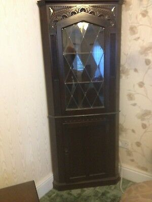 Lovely Old Used Dark Oak Lead Effect Glass Corner Display Cupboard With Key