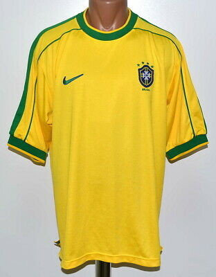 37f08e647a9 Brazil National Team 1998 1999 2000 Home Football Shirt Jersey Nike Size L  Adult