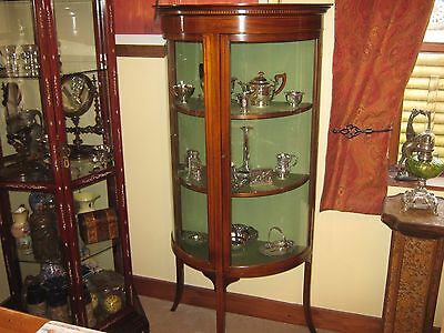 Super Quality 1890-1910 Half Round Mahogany& Satinwood Silver Display Cabinet