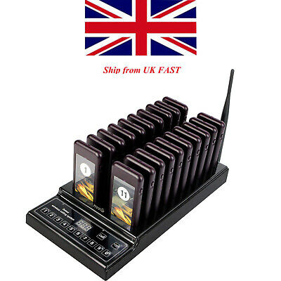 TIVDIO T112 Restaurant Wireless 999CH Customer Queuing Paging System+20*Pager UK