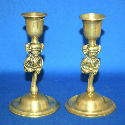 A pair of antique Victorian gothic Lincoln imp gargoyle brass candlesticks, 5.5""