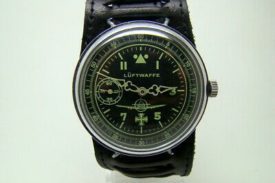 GERMAN PILOT LUFTWAFFE MILITARY WATCH WAR2 WW2 TYPE VINTAGE ws STRAP