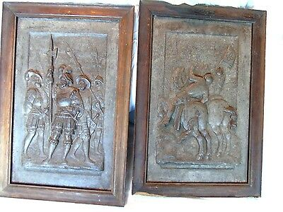 Antique Relief Panels Medieval Knights Iron Horse Battle