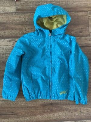 Girls Animal Windbreaker Raincoat Jacket Coat Blue Spotted Sz S 7 Yrs