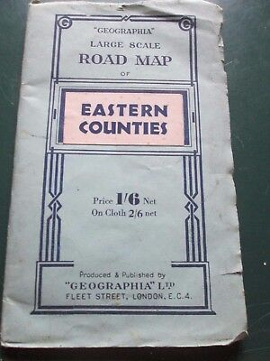 Geographia Large scale Road Map Paper Eastern Counties 1930's paper