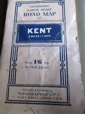 """Geographia Large scale Road Map 3mls to 1""""  KENT 1930's paper"""