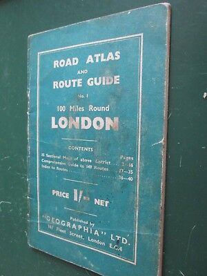 Geographia Road Atlas / Route Guide 100 miles round London 1920's? (no road nos)
