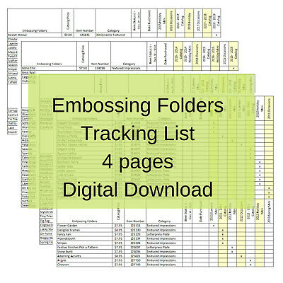Stampin Up Tool Paper Cardstock Embossing Folders Tracking List, Inventory