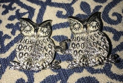 Vintage Mimi di N Silver tone OWL Interlocking Belt Buckle