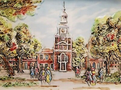 Framed Porcelain Picture of Independence Hall in Philadelphia Pa. #6791