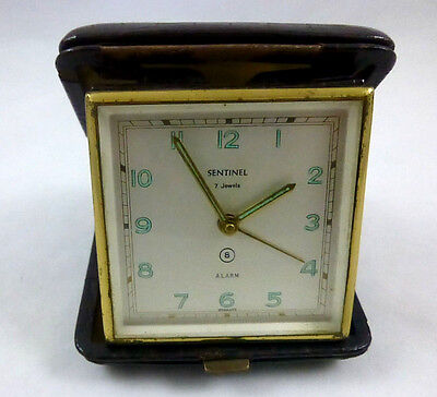 Travel Alarm Clock West Germany Leather case w/ Luminous numbers & hands