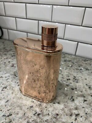 New $300 9 Oz Jacob Bromwell Copper Screw Top Vermonter Offset Flask Made In USA