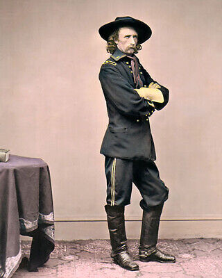 """GENERAL GEORGE ARMSTRONG CUSTER st CIVIL WAR 8x10"""" HAND COLOR TINTED PHOTOGRAPH"""