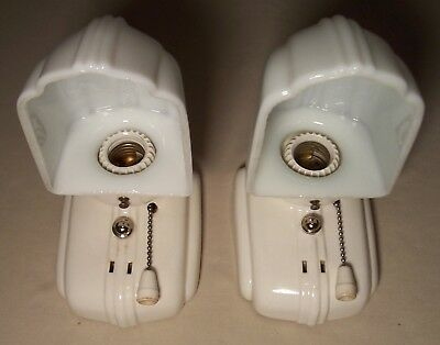 Vtg Porcelain Sconce Wall Light Fixture Bathroom Shade Pair 2 Rewired USA #A35