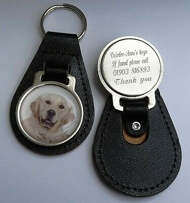 Genuine Leather Personalised Engraved Key Ring with GOLDEN RETRIEVER PICTURE
