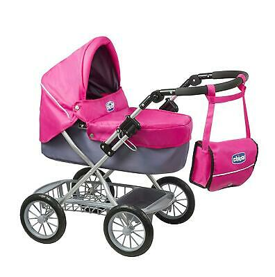 Chicco Capri Doll's Folding Pram with Matching Bag - Pink & Grey