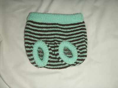 NEW Made in Uk Handmade Knitted 3-6 mths Nappy Cover Mint + Chocolate Striped