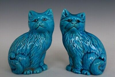 Chinese Beautiful Pair Peacock Blue Porcelain Cat Statues