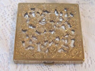 Vintage Coty  Filigree Floral Flower Gold Silver Tone Metal Powder Compact