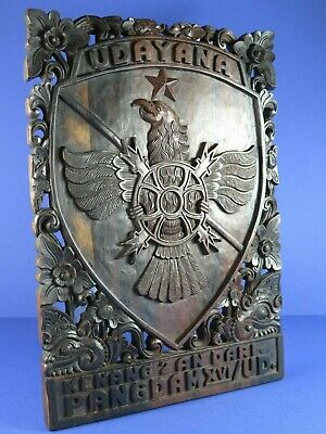 Indonesian Sonokeling Rosewood Carving ~ Udayana Indonesian Army Coat Of Arms