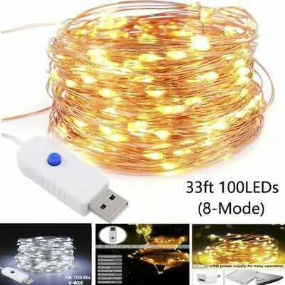 USB 10M 100LED String Copper Wire Fairy Lights Wedding Xmas Party Decor 8 Modes