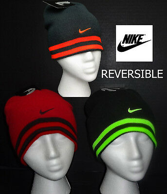 26dc60a986f70 NWT NIKE Boys Black or Gray Reversible Beanie  Winter Hat(Size Youth 8