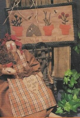 """Country Stitches Pattern-Primitive 21"""" Doll & Wall Quilt-Home Decor-Fall"""