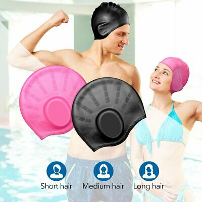 New Silicone Swimming Cap Long Hair Large for Adult Men Ladies Waterproof Hat ET