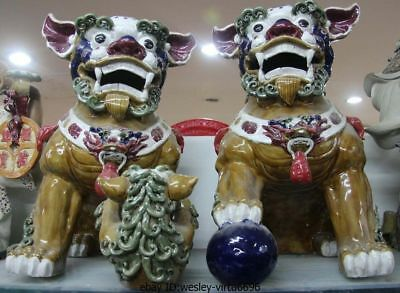Chinese pottery WuCai Porcelain Feng Shui Foo Dog Lion Play Son Ball Statue Pair