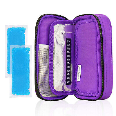 Diabetic Insulin Cool Bag Organiser Medical Travel Cooler & 2 Ice Packs Purple