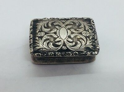 Nathaniel Mills Antique English Georgian Sterling Silver Ornate Vinaigrette