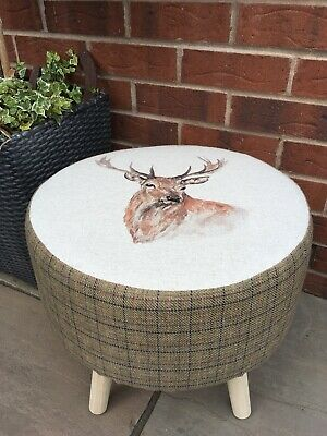 """Country Footstool !!  """"Highland Stag """" With A Coordinating Moss Green Check"""