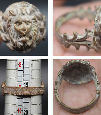 Wonderful Rare Roman Ancient Wild Lion Bronze Ring #sr1360
