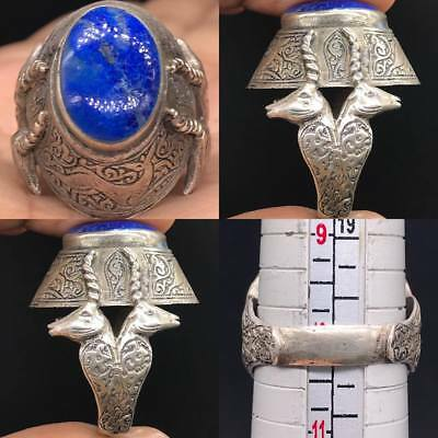 Wonderful Solid Silver Ring Lapis Stone With Two Ram On site #SR1123